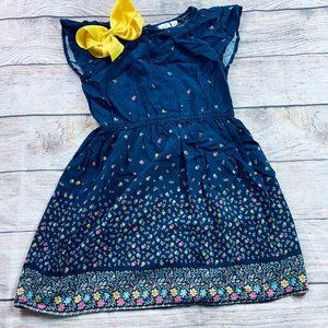 EUC Gap Kids Floral Navy dress sz M + yellow bow